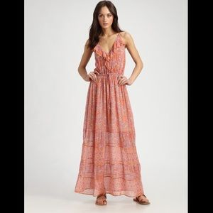 Joie Semisheer Floral Print Silk Maxi Dress